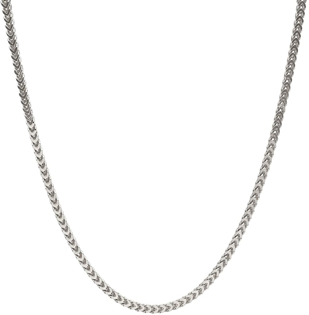 """Sterling Silver Italian 2.5mm Franco Square Box Link Chain- Made In Italy- Silver or Yellow- 16""""-30"""""""