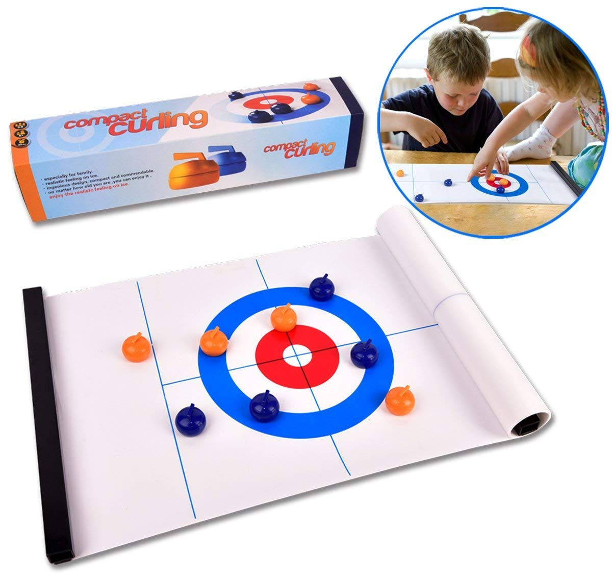 ROPODA Tabletop Curling Game-Compact Curling Board Game, Mini Table Games for Family, School, Office or Travel Play by ROPODA