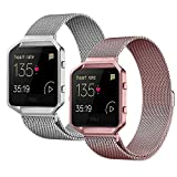 For Fitbit Blaze Band (2 Pack),Stainless Steel Magnetic Milanese Loop Metal Replacement Band for Fitbit Blaze Watch Small Large Women Men for Accessories (No Frame)