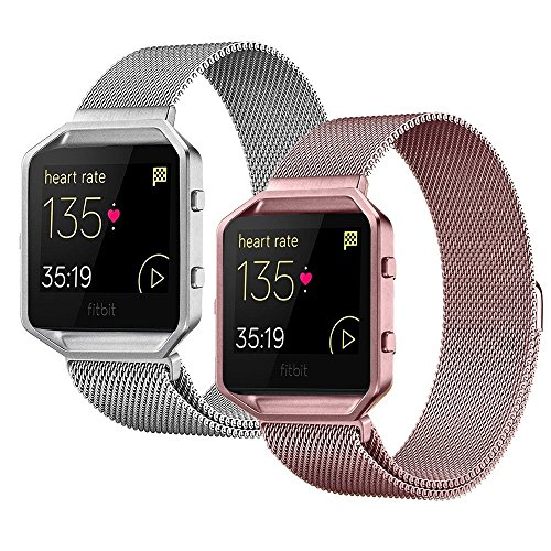 For Fitbit Blaze Band (2 Pack),Stainless Steel Magnetic Milanese Loop Metal Replacement Band for Fitbit Blaze Watch Small Large Women Men for Accessories (No Frame) by COUPOON