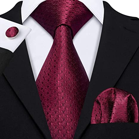 WOXHY Corbata de los Hombres Clásico Vino Rojo Jacquard Corbata de ...