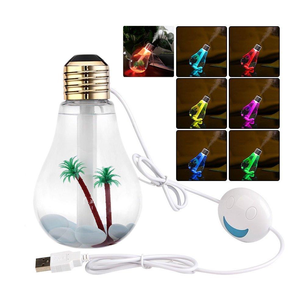 USB Humidificateur Brume Froide 400ml Portatif Transparent en Forme d'ampoule Diffuseur d'air avec 7 Couleurs LED Lumière de Nuit pour Maison Bureau - Version Micro Paysage avec Golden Tête d'ampoule BeiLan BSL-117