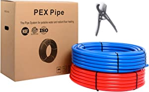 EFIELD PEX PIPE/TUBING (NSF CERTIFIED)BLUE&RED 1/2 inch 2 x100ft( 200ft )LENGTH FOR POTABLE WATER-FOR HOT/COLD WATER-PLUMBING APPLICATIONS with Free Cutter