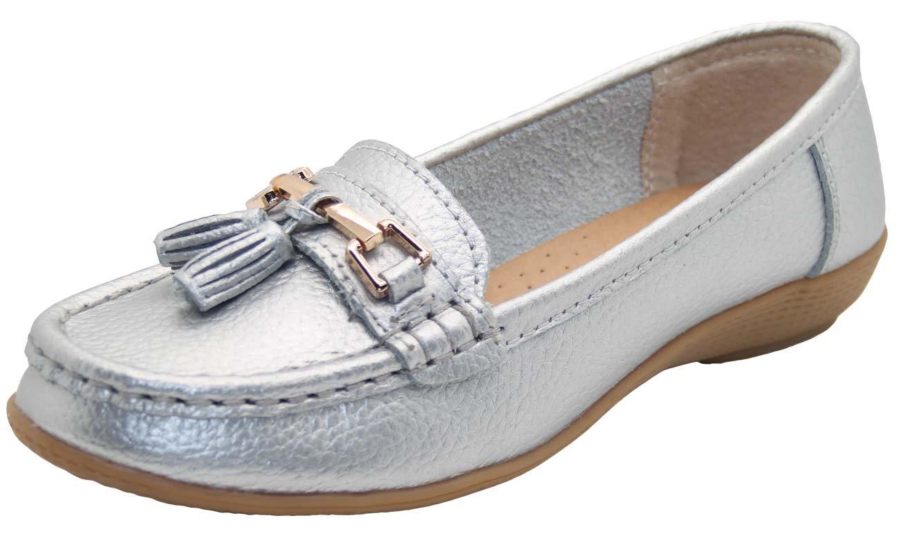 Damenschuhe aus Leder – flache lässige Damenslipper, bequeme Halbschuhe mit niedrigem Keilabsatz, Arbeitsschuhe  35.5 EU|Silber