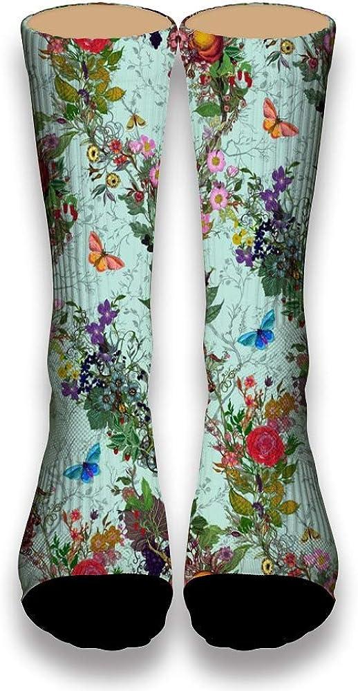 Flowers World and Happy Butterflies AlyGoo 3D Print Funny Custom Crew Casual Socks