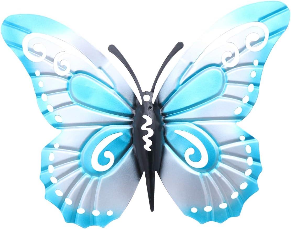 Yarnow Mariposa Arte de La Pared de Metal 3D Mariposa Decoraciones de Pared Vintage Mariposa Hierro Manualidades para La Decoración del Jardín del Hogar (Azul)