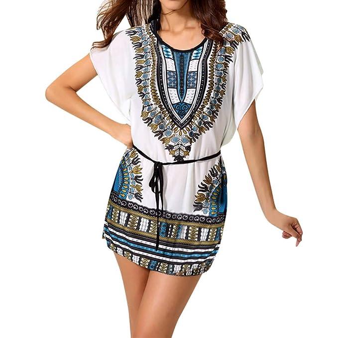 Lovely Chiffon Vintage Dresses Women Summer Ethnic Style Sweet Print Backless Casual Girl Elegant A Line Swing Chic Beach Midi Dress Women's Clothing