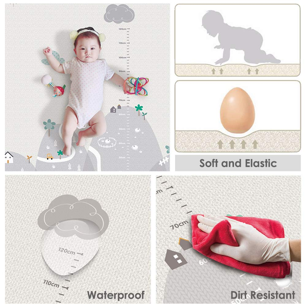 Buyger Baby Floor Play Crawling Mat Gym Nursery Activity for Toddler Children Kids Non Toxic 1CM Thick Double Sided 200 x 180cm LDPE Plastic Extra Large Waterproof