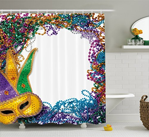 Mardi Gras Shower Curtain by Ambesonne, Colorful Framework Design with Vibrant Beads and Mask Fat Tuesday Holiday Theme, Fabric Bathroom Decor Set with Hooks, 84 Inches Extra Long, Multicolor