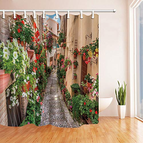 - Nyngei Tuscany Street Flowers are Blooming on The Wall Stone Road Blue Sky Bath Curtain 70.8X70.8in Polyester Fabric Shower Curtains Fantastic Decorations