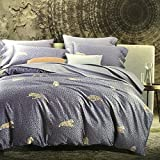 Softta Luxury Blue Leopard Print Duvet Cover Set Cal King Size 1000 Thread Count 3Pcs 100% Cotton Set