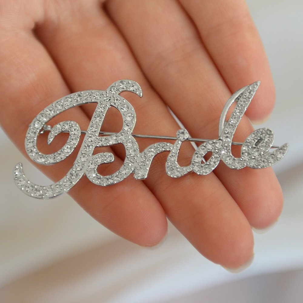 Mariell Crystal Rhinestone Bride Brooch Pin in Script Lettering - Bachelorette & Bridal Shower Gift! by Mariell (Image #4)