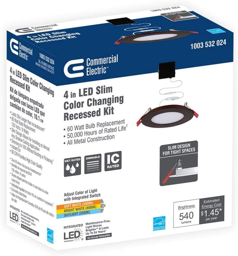Commercial Electric Slim 6 in Color Selectable Canless LED Recessed Kit