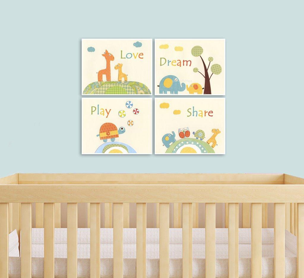 Amazon.com: DesignByMaya Kids Wall Art Decor Nursery Art Prints Baby ...