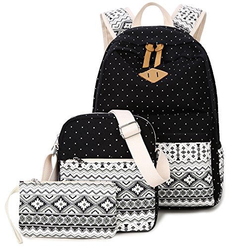 - Goldwheat Fashion Dot Set Canvas School Backpack Lightweight Casual Laptop Bag Teen Girls Boys School Shoulder Bag Daypack Handbag(Black)