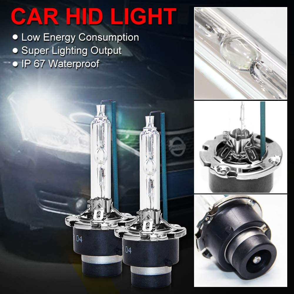 D4S Headlight Bulbs Xenon White Replacement Bulb 12V 5500K 35W 2PC Pack Metal Stents Base Headlight Lamp for Car Automotive HI D4S