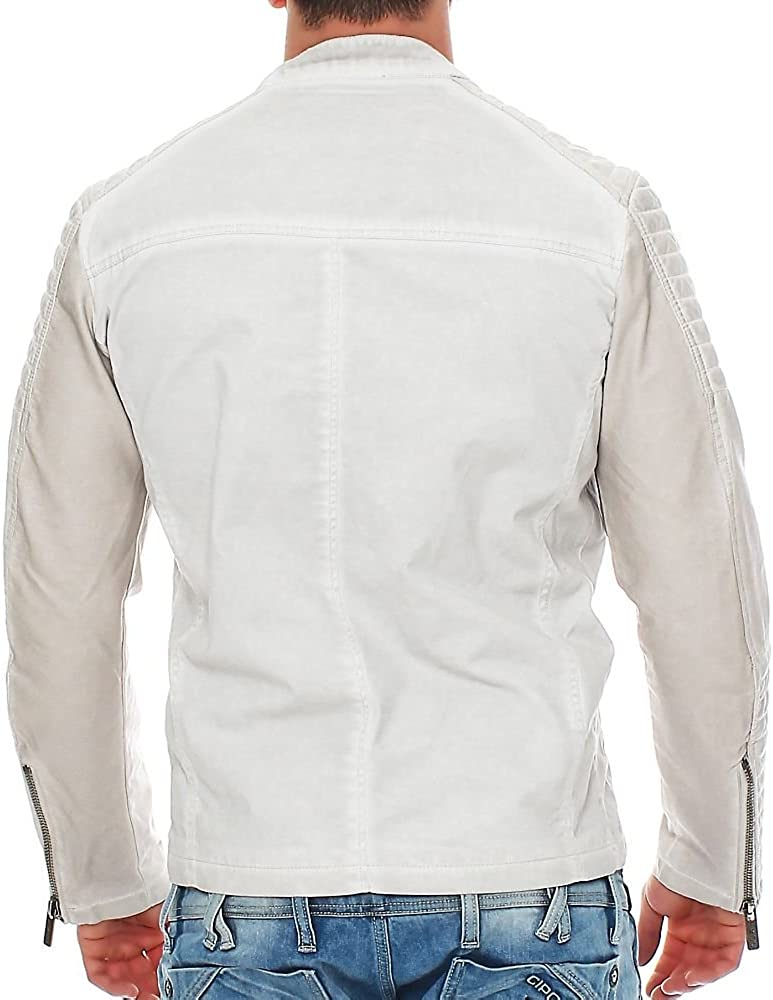 Red Bridge Mens Combined Leather and Denim Jacket