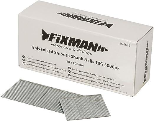 Fixman 974546 Galvanisierte Glattschaftn/ägel 18 G 5.000er-Pckg.
