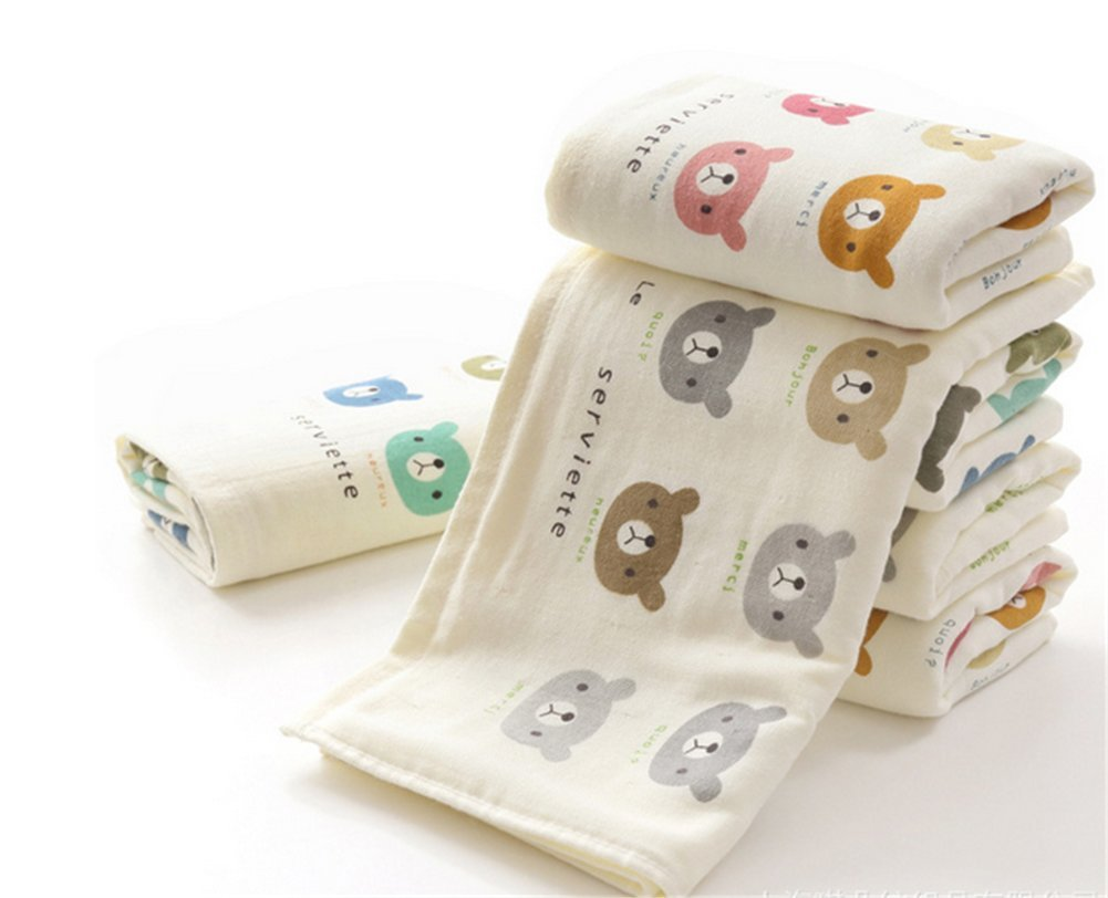 Affe 2pcs Cotton Washcloth Baby Feeding Baby Face Towels Washers Hand Cute Cartoon Wipe Wash Cloth ZGJ