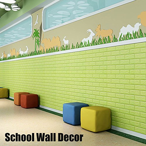 Green Color Foam Wallpaper Sticker For Boys Room Wall Decor, POPPAP 3D Foam Brick Panel Peel And Stick Wallpaper Self-adhesive Removable Wall Paper for TV Background, Children Room, Bedroom/ 20 PACK by POPPAP (Image #3)