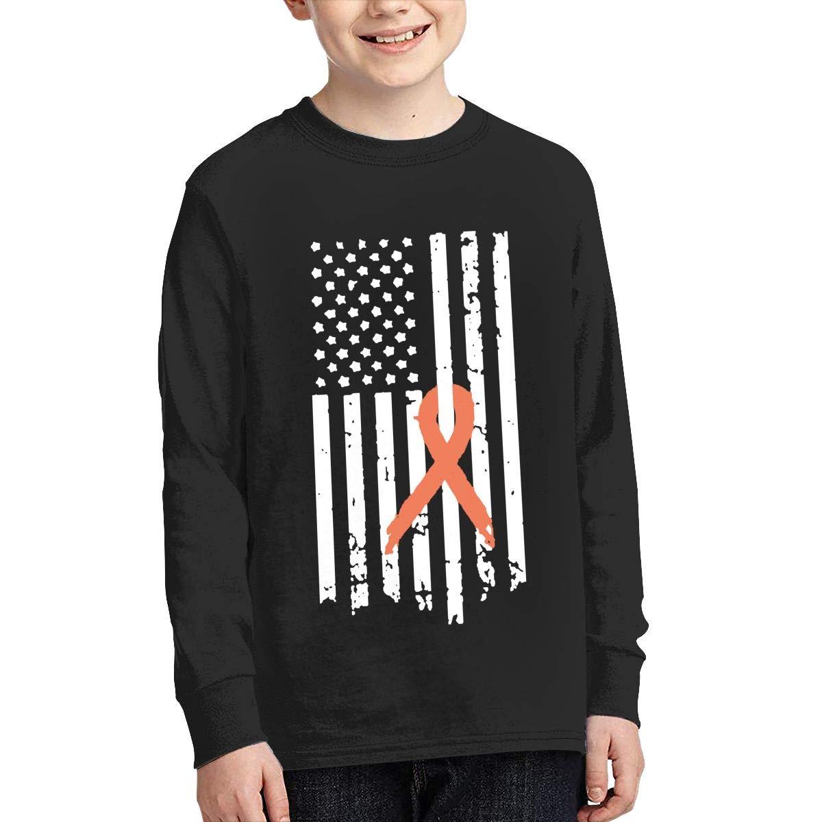 Teenagers Teen Girls Leukemia Awareness Flag Printed Long Sleeve 100/% Cotton T Shirts