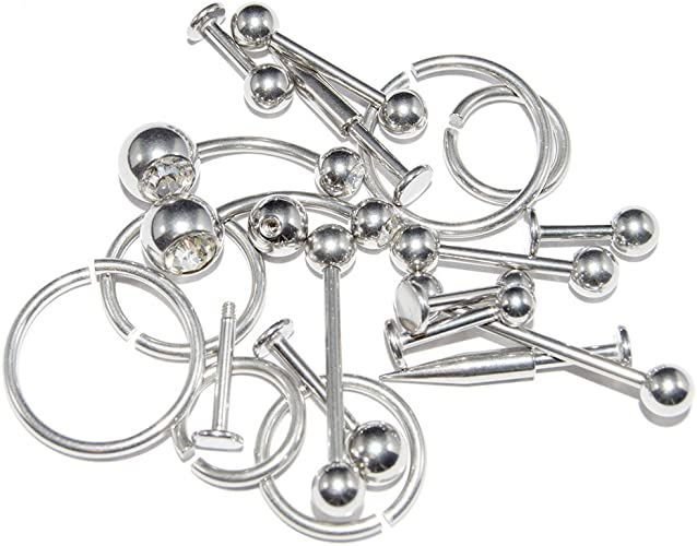 Amazon.com: BodyJewelryOnline Wholesale Body Piercing Jewelry Lot of 20  Basic Mixed 14G Surgical Steel: Jewelry