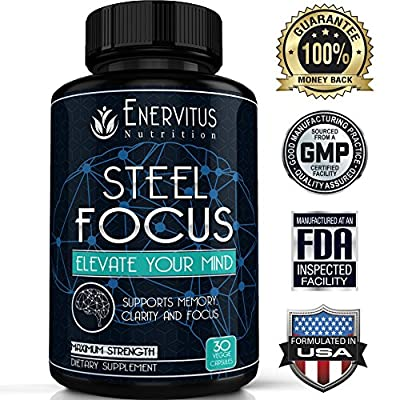 Super Strength Natural Brain Booster Nootropic Supplement to support Focus , Energy, Memory & Mental Clarity - High Quality Formula of Ingredients, St. John's Wort, Ginkgo Biloba & More, 30 Capsules