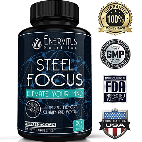 Super Strength Natural Brain Booster Nootropic Supplement to support Focus , Energy, Memory & Mental Clarity - High Quality Formula of Ingredients, St. John's Wort, Ginkgo Biloba & More, 30 Capsules -