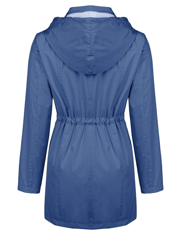 Kikibell Rain Jacket Women Striped Lined Hooded Lightweight Raincoat Outdoor Waterproof Windbreaker
