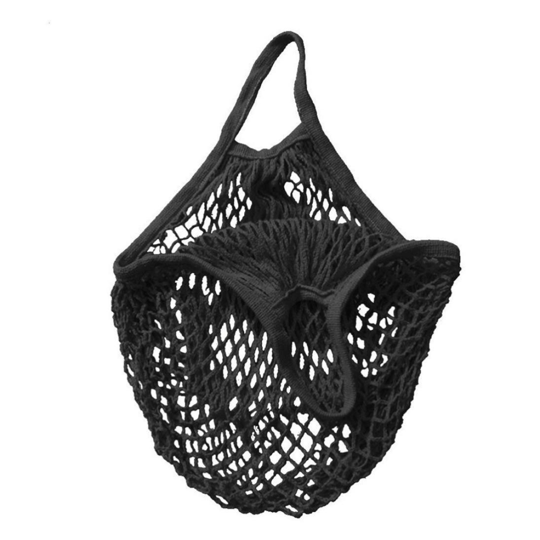 SHJNHAN Mesh Net Turtle Bag, String Shopping Bag Reusable Fruit Storage Handbag Totes New (Black)