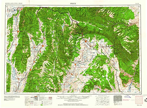 YellowMaps Price UT topo map, 1:250000 Scale, 1 X 2 Degree, Historical, 1960, 22.1 x 30.1 in - Paper