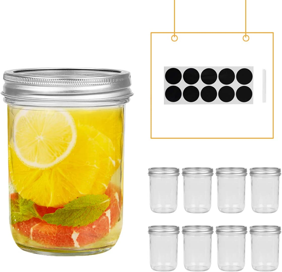 FRUITEAM 8 oz Wide Mouth Mason Jars with Silver Metal Airtight Lids Set of 8 Transparent Glass Canning Jar