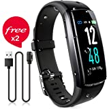 JAZIPO Fitness Armband mit Pulsmesser Blutdruck, Wasserdicht IP68 Fitness Tracker Smartwatch GPS Aktivitätstracker Pulsuhren Vibrationsalarm Anruf SMS für Damen Männer