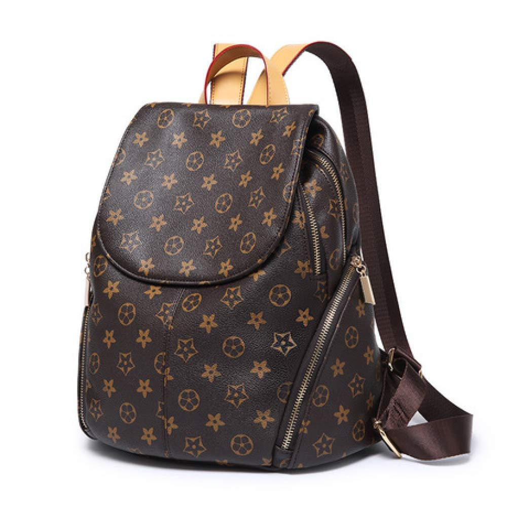 YKXIAOYU New Ladies Backpack Printed Fashion Pu Backpack Brow