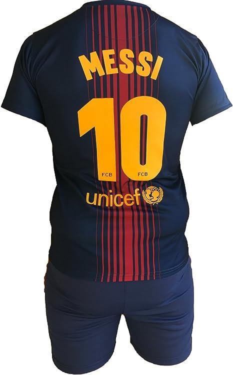 Conjunto Equipacion Camiseta Pantalones Futbol Barcelona Lionel Messi 10 Replica Autorizado 2017-2018 Niños Adultos (Talla 2 Años): Amazon.es: Deportes y aire libre