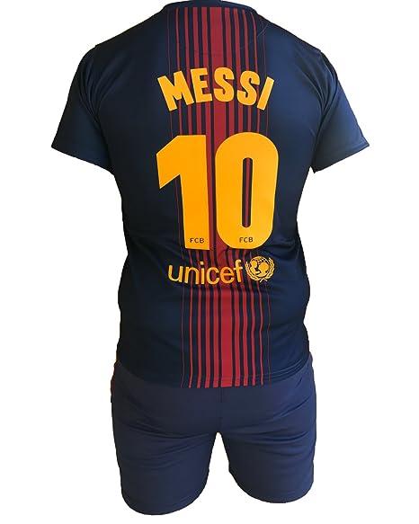 Conjunto Equipacion Camiseta Pantalones Futbol Barcelona Lionel Messi 10  Replica Autorizado 2017-2018 Niños Adultos  Amazon.es  Deportes y aire libre 3b8d6b1c465e7