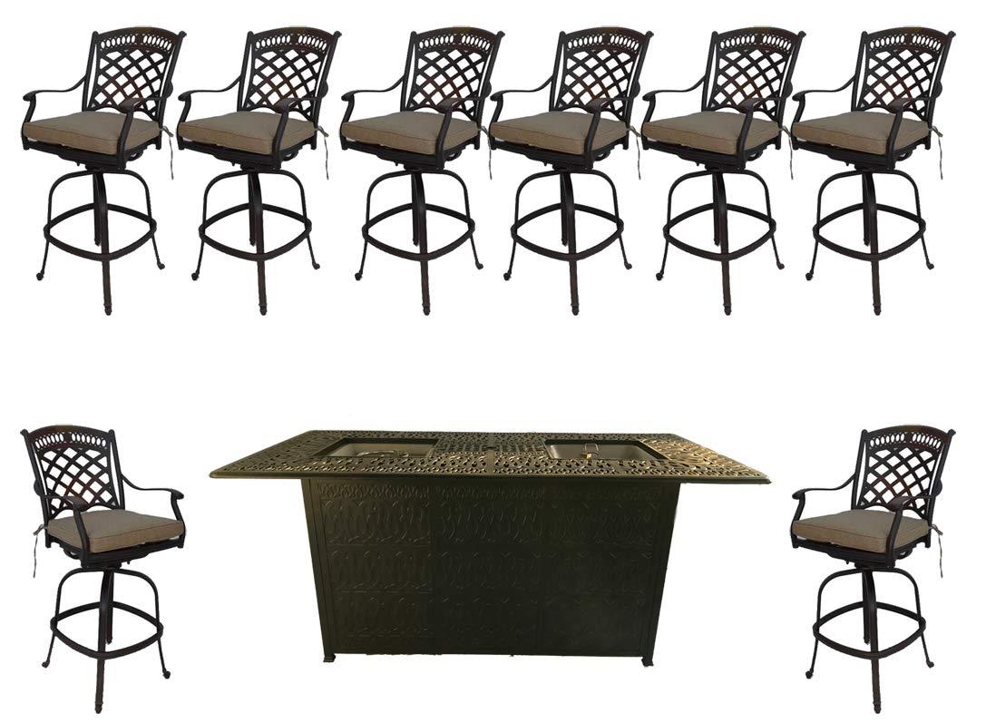 Bar Height fire Pit Dining Set 9 Piece cast Aluminum Patio Furniture Sunbrella Cushions