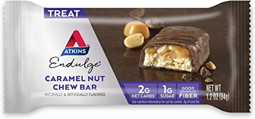 Atkins Endulge Treat, Caramel Nut Chew Bar, Keto Friendly, 60 Count Value Pack