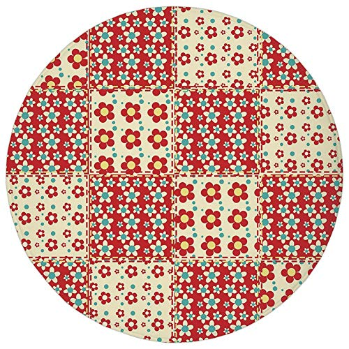 (Round Rug Mat Carpet,Cabin Decor,Traditional Quilt Pattern with Spring Garden Flowers Daisies Decorative,Light Yellow Turquoise Red,Flannel Microfiber Non-slip Soft Absorbent,for Kitchen Floor Bathroo)