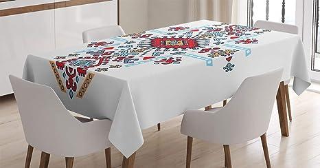 Imagen deABAKUHAUS Geométrico Mantele, Modelo Mexicano, Estampado con la Última Tecnología Lavable Colores Firmes, 140 x 200 cm, Multicolor