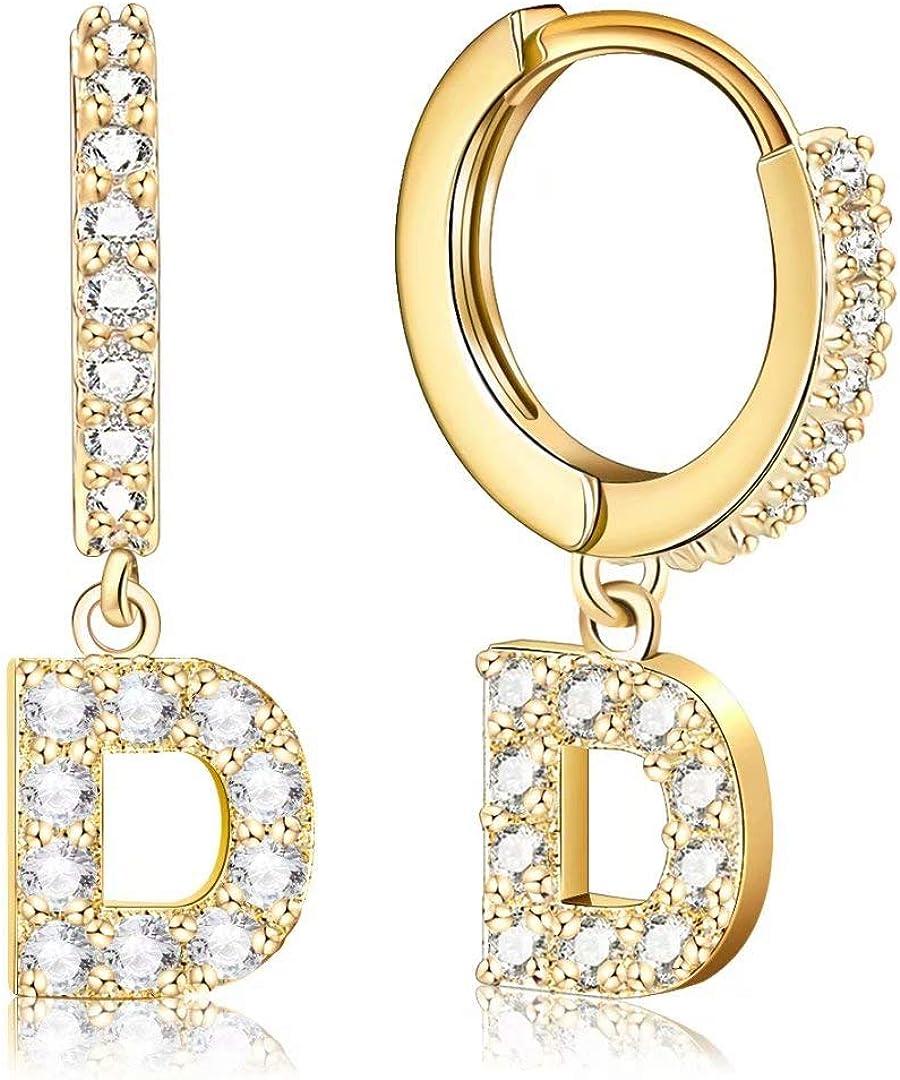 Ldurian A - Z Initial Hoop Earrings, Sparkling CZ Letter Huggies, Small Dangle Hoops, 14K Gold Plated, Delicate Jewelry, Gift For Women Men, Earrings for Teenage Girl