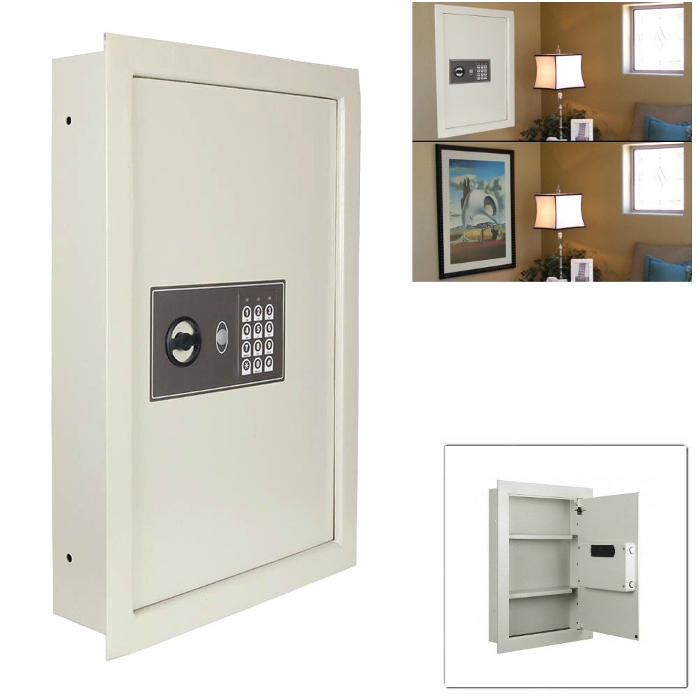 Flat Recessed Digital Built-In Wall Safe | Cash Jewelry Document Money Gun Security Secure Lock Box Home Office Use