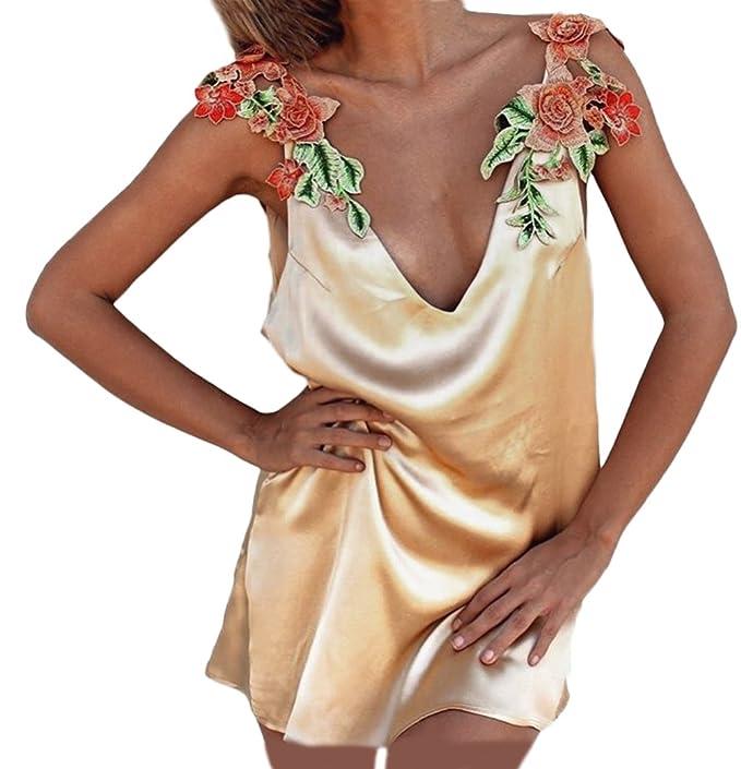 Mujer Vestidos De Fiesta Cortos Verano Elegante Sin Mangas V Cuello Anchos Dresses Fiesta Disfraz Espalda Abierta Vestido Coctel Bordado Flor Playa: ...