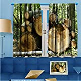 SCOCICI1588 Darkening Rod Pocket Unlined Window Curtains, wood Floral Pattern, Set of Two Panels, W84'' x L84'' Pair