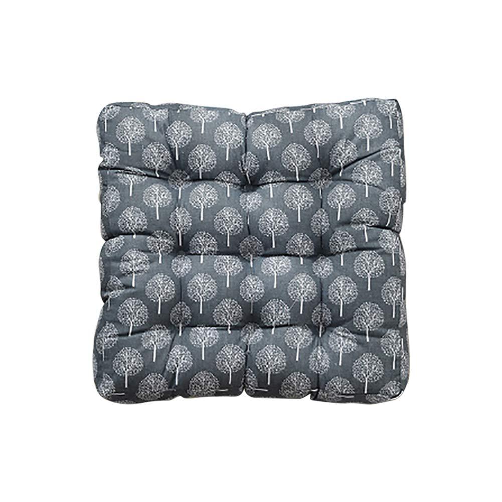 TMJJ Cotton Linen Floor Pillow Cushion Japanese Futon Square Seat Cushion Thicken Chair Wave Window Pad 21'' x 21''(Trees Black)