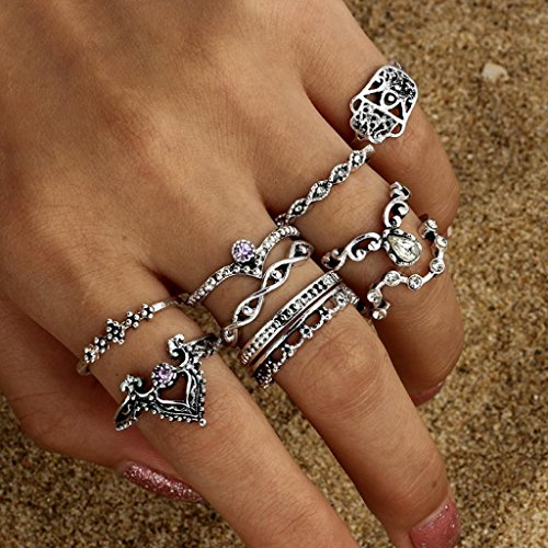 Botrong® 10pcs/Set Women Bohemian Vintage Silver Stack Rings Above Knuckle Blue Rings Set (Silver)