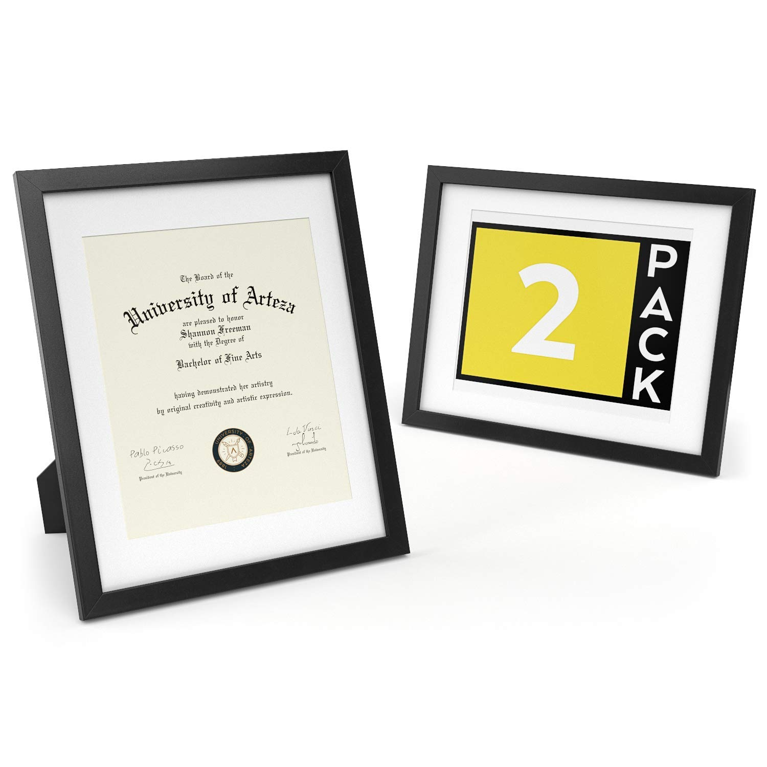 ARTEZA Document and Certificate Frames - Display 11'' x 14'' Pictures w/o Mat or 8'' x 10'' Photos w/Mat - 2 Pack - Wood Finish Picture Frames - Pure Glass Front - for Wall - Gallery Wall
