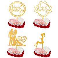 TOTEDELL Happy Birthday Cake Topper Wedding Engaged or Anniversary Pack of 5 Gold Cute Mr and Mrs Cake Topper