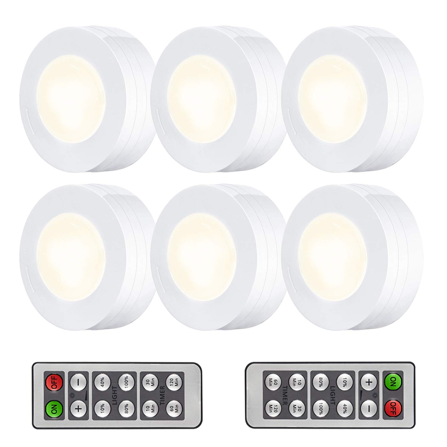 Arvidsson LED Under Cabinet Lighting, Wireless LED Puck Lights with Remote, Closet Light Battery Operated, Dimmable Under Counter Lights for Kitchen, Natural White - 6 Pack