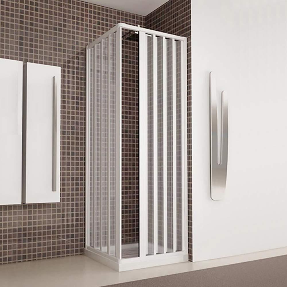 Box douche d'angle, cm.80x 100(réductible de cm.65–80à cm.65–100), soufflet Blanc en acrylique cm.80x 100(réductible de cm.65-80à cm.65-100) Arredobagnoecucine